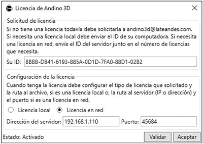 Documentación - Manual de instalación de Andino 3D - Licencia de Red