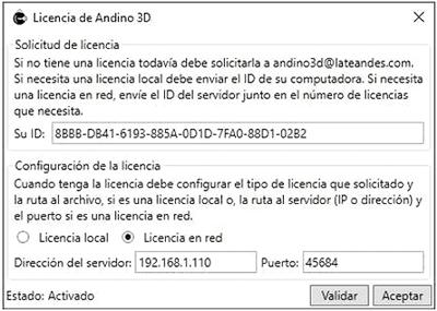 Documentación - Manual de instalación de Andino 3D - Licencia de Red
