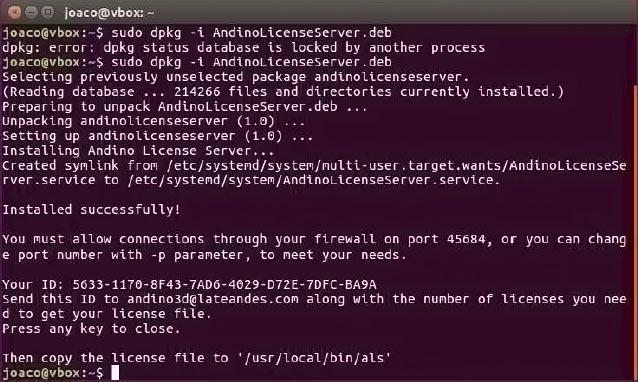 Documentación - Manual de instalación de Andino License Server - Linux