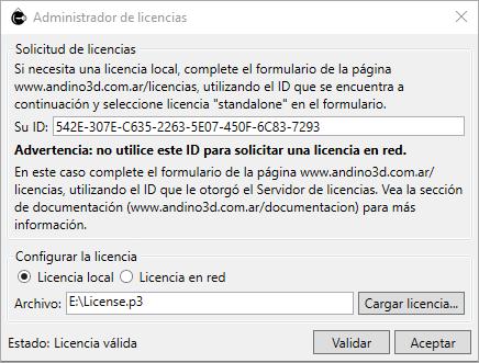 Documentación - Manual de instalación de Andino 3D - Licencia Local